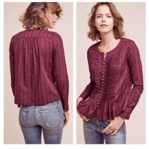 Anthropologie Maeve Purple Pleated Button Top S